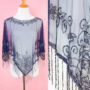 Blue Vintage Beaded Poncho Wrap Top